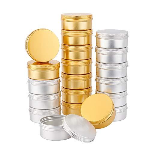 PandaHall, 20 barattoli di latta in alluminio, 141,7 g, con coperchio a vite, grande contenitore per tè, contenitori per cosmetici, candele, caramelle, bomboniere, viaggi (platino e dorato)