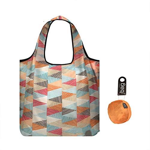 折りたたみ買い物袋エコバッグ 折りたたみ コンパクトショッピングバッグ 折りたたみ 袋 買い物防水エ大容量ハンドバッグ (オレンジ・トライアングル)
