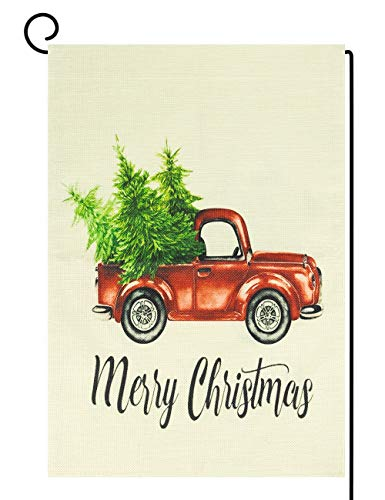 OZMI Home Decorative Merry Christmas Garden Flag, Red Truck Double Sided, Rustic Xmas Quote House Yard Flag Pickup, Winter Holidays Garden Decorations, Vintage Seasonal Outdoor Flag 12 x 18, Car
