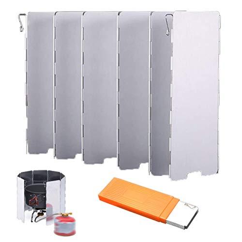 OLT-EU Faltbar Windschutz Aluminium, Faltbarer Wind-und Spritzschutz, Windschutz für Gaskocher/Campingkocher mit 10 Lamellen aus Aluminium (+ Lagerung Box)