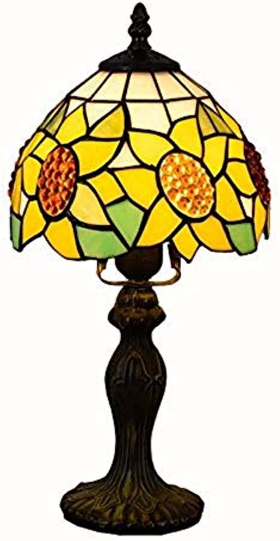 JZQ Tischlampe 8 Zoll Dekoration Tischlampe Lndlichen Sun Flower Glasmalerei Tischlampe Wohnzimmer Schlafzimmer Schlafzimmer Arbeitszimmer Nachttischlampe 40 watt Mit Druckschalter