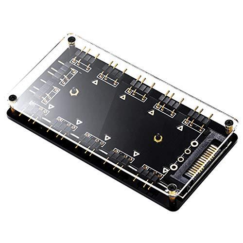 Fransande 5 V 3 pines Rvb Hub interfaz Splitter para puerto de alimentación Molex Sata Aura Sync 3Pin Fan de la placa madre