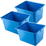 Kadax Seau à peinture carré en plastique, seau avec poignée en métal, seau à eau stable avec bord coulé, pour rénovation, jardin, seau de nettoyage, rectangulaire, léger, bleu