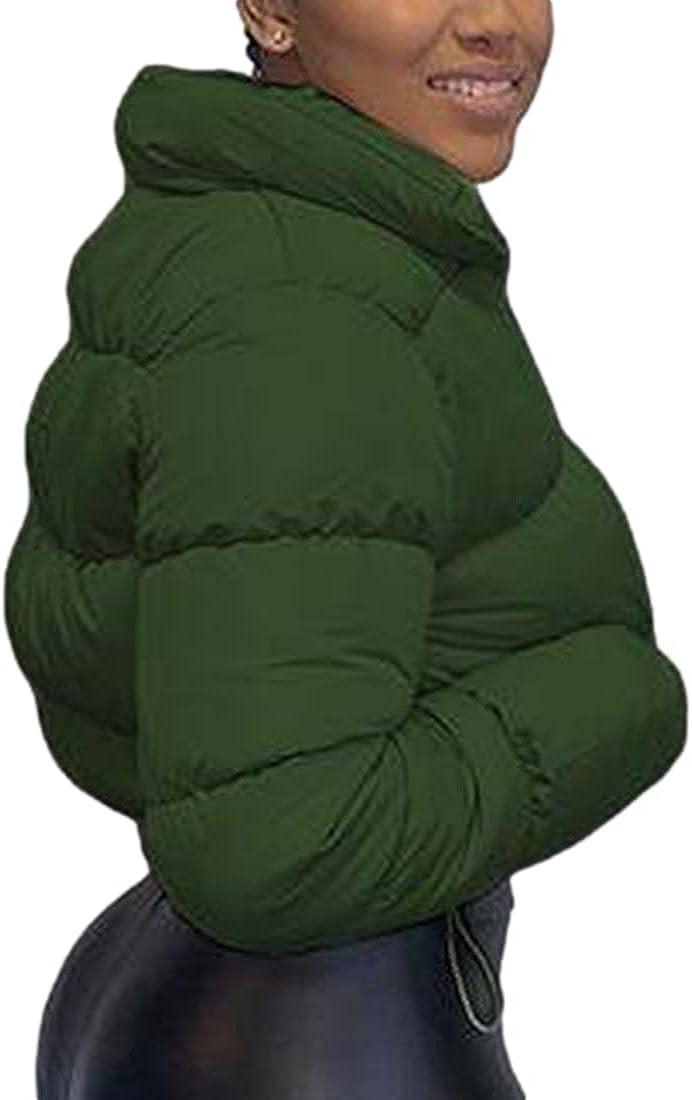 PUWEI Women's Crop Quilted Down Jacket Stand Collar Lightweight Short Puffer Outerwear