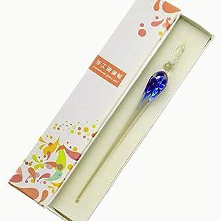 【TSUCIA】ガラスペン万年筆ねじりペン 手紙便箋イラスト透明 文房具なめらかに書ける筆感ハンドクラフト (ブルー)