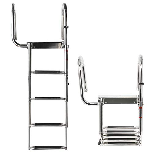 Amarine Made 4 Steps Removable Premium Stainless Folding Rear Entry Pontoon Boat Ladder w/Extra Wide Step-Left