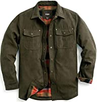 CQR Men's Flannel Lined Shirt Jackets, Long Sleeved Rugged Plaid Cotton Brushed Suede Shirt Jacket