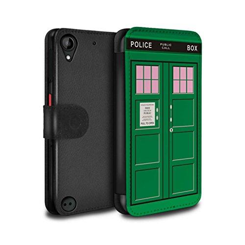 Hülle Für HTC Desire 530 Tardis Telefonzelle Kunst Grün Design PU Leder Tasche Brieftasche Schutz Handyhülle Flip Case