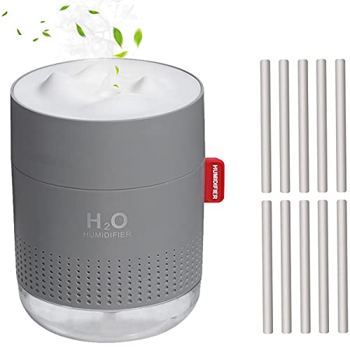 Mini Plant Humidifier, Indoor 500ml Small Cool Mist Portable Personal Desktop Humidifier with 10 Cotton Filter Sticks, Night Light, Auto Shut-Off, Two Spray Modes, Whisper Quiet for Office - Gray