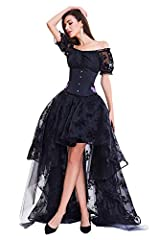 COSWE Skirt Irregular Steampunk Cocktail Party Gothic Skirts for Women, UK 18-20/4XL, Skirt-black #1