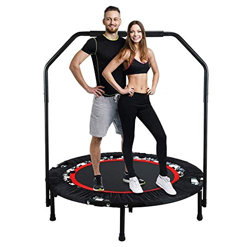 Fitness Trampoline, Portable Foldable 40Inch Trampoline with Handle Mat And Knee Pad, Exercise Rebounder Safety Durable Trampolines