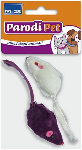 Topini per gatto piccoli da 2pz., gioco per gatto 2pz topo da 6cm pelo raso colori assortiti, giocattolo per gatto finto topo a pelo raso lunghezza 6cm, finto topolino per gatto gioco per animali