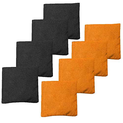 Premium Weather Resistant Duckcloth Cornhole Bags - Set of 8 Halloween Bean Bags for Corn Hole Game - Regulation Size & Weight - 4 Orange & 4 Black