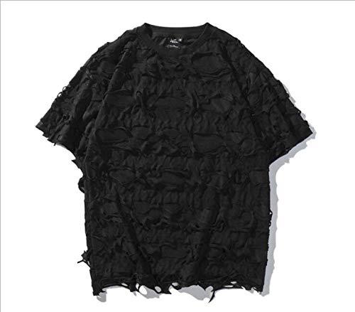 ONLYONE1 T-Shirts mannen Hip Hop Losse Ronde hals Gat Zand Net Koude Nieuwigheid Ademende Cool Persoonlijkheid Korte mouw Casual Eenvoudige Chic T Shirt