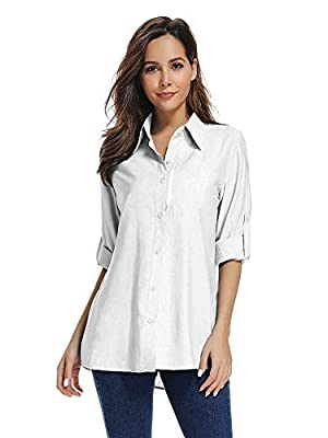 Women's UPF 50 Long Sleeve Sun Protection Shirts Quick Dry Outdoor Fishing Hiking Travel Shirt (5019 White L)
