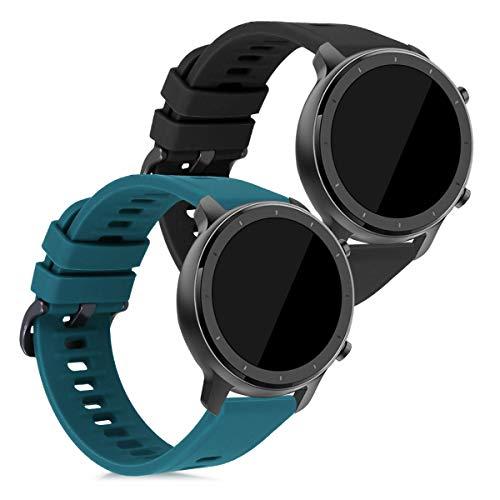 kwmobile 2X Brazalete Compatible con Huami Amazfit GTR (42mm) -  Pulsera de Silicona Negro/petróleo sin Fitness Tracker