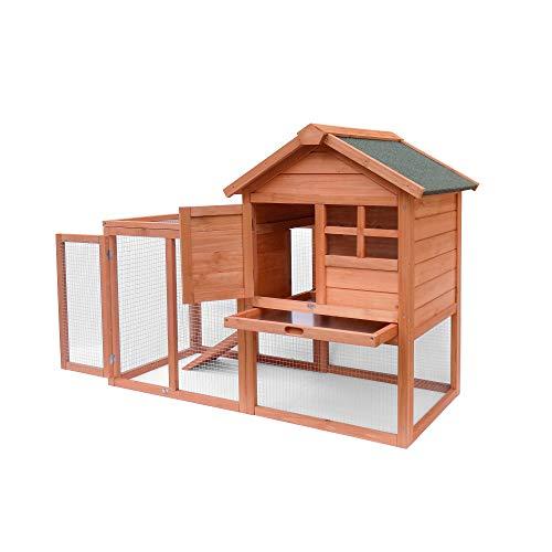 Wooden Pet House Chicken Coop Large Wooden Outdoor Bunny Rabbit Hutch Hen Cage with Ventilation Door, Waterproof Roof,Removable Tray & Ramp Garden Backyard Pet House Chicken Nesting Box (Orange)