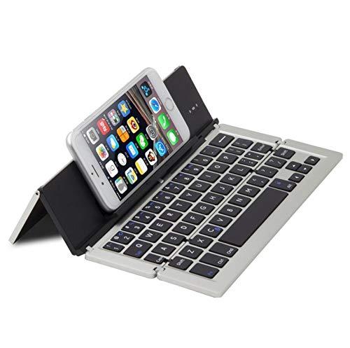 WLWLEO BlueFinger F18 3-fach faltbare Bluetooth-Tastatur aus Aluminiumlegierung mit Halterung für iOS, Android, Microsoft,silber