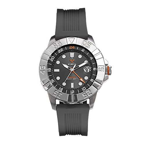 Axwell Barrage Correa Reloj w/Date, gris/plateado/gris/blanco. SKU: AXWAW100-5,