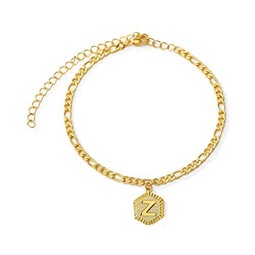 VANGETIMI 18k Gold Plated Initial Charm Anklet Foot Jewelry Adjustable Figaro Chain Link Letter Alphabet Ankle Bracelet for Women Men Teen Girls Boys