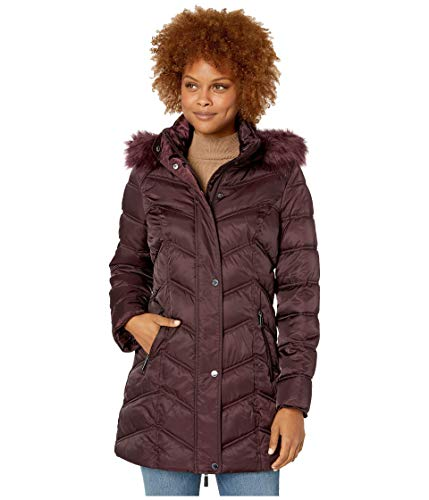 Kenneth Cole Chevron Quilted Puffer w/Faux Fur Trimmed Hood Sangria LG