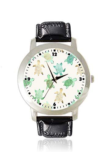 Damen Armbanduhr mit Schildkröten-Motiv, dünn, dünn, minimalistisch, modisch, wasserdicht, analog, Lederarmband, Geschenk