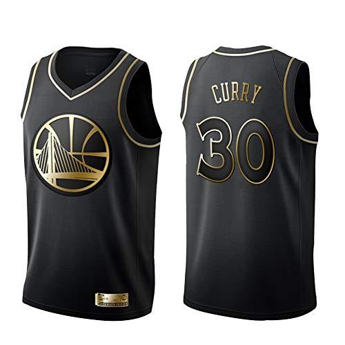 Warriors Stephen Curry # 30 Basketball-Trikot, Herren, Jersey, 100% Polyester, schnelltrocknender Stoff, ärmellos Gr. S, Schwarz