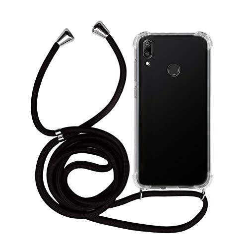 MyGadget Handykette für Huawei Y7 2019 TPU Hülle mit Handyband zum Umhängen - Handyhülle mit Band Halskette Kordel Schnur Hülle Schutzhülle - Schwarz