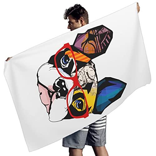 Gamoii Toalla de playa rectangular para niños y niñas, toalla de baño para perros, bulldog para la playa, secado rápido, toalla de playa, toalla para natación, color blanco, 150 x 75 cm