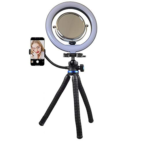 Makeup Mirror with 10-inch Ring Light [+1year Warranty] Two-Sided Mirror 1x/3x, Phone Holder, &...