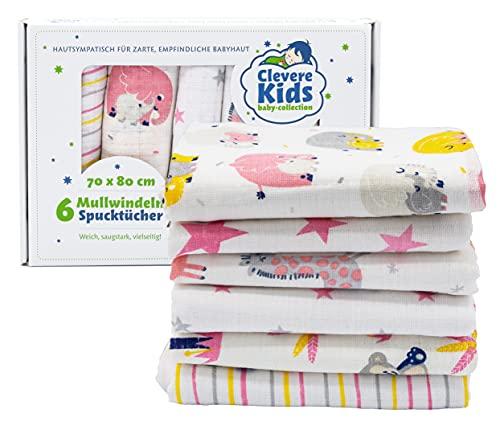 Clevere Kids - Paños de muselina para niños, 6 unidades, estampados, Oeko-Tex, tejido doble, 70 x 80 cm, para niñas