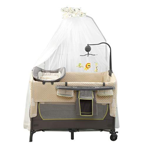 Berceau multifonctionnel pliable Portable Voyage Lit Lit Lit Bassinet Playpen Game Bed (Color : BROWN, Size : 102X70X82CM)