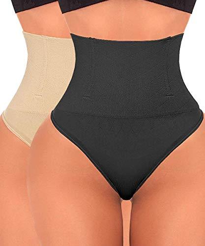 Tanga Shapewear Bauchkontrolle Höschen Body Shaper für Frauen Butt Lifter Taille Trainer Nahtlos Slimmer Panty - Beige - XXX-Large