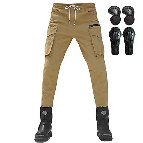 ASEDF Pantalones Vaqueros Anti-caídas a Prueba De Viento con Múltiples Bolsillos, Pantalones De Montar a Caballo para Hombres con 4 Almohadillas Extraíbles Khaki-L/32