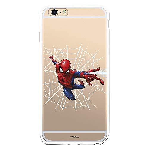 Funda para iPhone 6 Plus - 6S Plus Oficial de Marvel Spiderman Telaraña Silueta para Proteger tu móvil. Carcasa para Apple de Silicona Flexible con Licencia Oficial de Marvel.