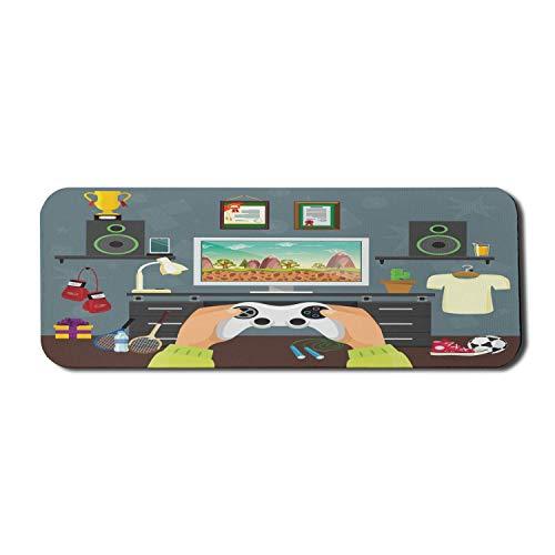 Gamer Computer Mouse Pad, Gaming Guy in seinen flachen Diplomen Laute Lautsprecher Boxhandschuhe Springseil und Trophäe, Rechteck rutschfestes Gummi-Mauspad Groß Mehrfarbig