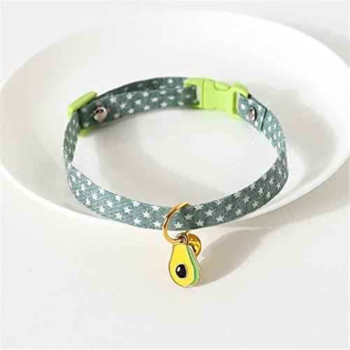 Collares de Gatito Collar Ajustable para Perros y Gatos con Campanas Collar de Moda Personalizado para Mascotas Gargantilla Cinturón para Cachorro, Verde, Cuello (17,32 CM)