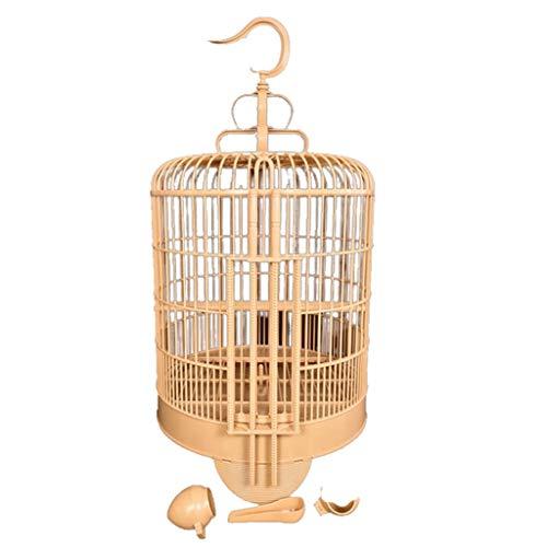 Nostalgie Jaula de Pájaro Redondo Bambú Periquito Medio para Pájaros Portátil Ligeriz Pájaro para Budgies 33x38cm