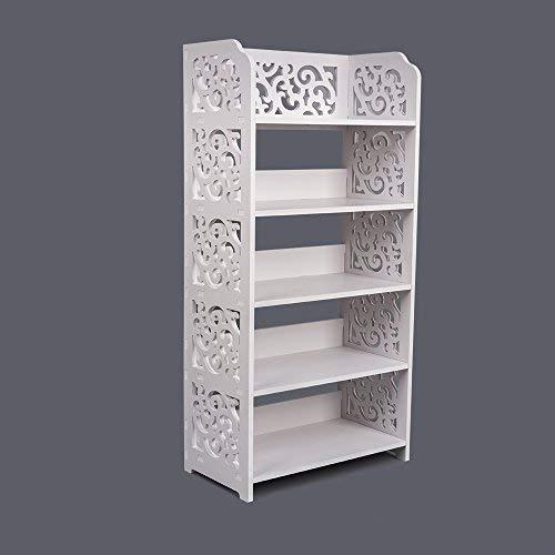 BigTree, Wandregal, mit 4 Ebenen, im Shabby-Chic-Stil, mit offenem Zugriff, 50 cm x 29,5 cm x 60 cm, Weiß, 5 Tier White-shoe Rack, 5 Tier