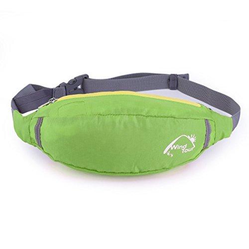 Kitechildhssd Bolsa de Viaje de poliéster Impermeable Riñonera Riñonera Cinturón Senderismo Cremallera Deporte Verde