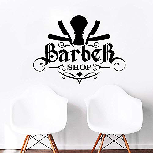 Vinyl muurtattoo Barber Shop heren haarknit scheermes sticker muur venster decoratie waterdichte kunststicker wallpaper 42X31cm