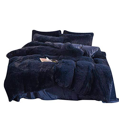 Gebuter 4pcs/set Colorful Fluffy Bedding Set Long Plush Quilt Cover Bed Sheet Pillowcase Set