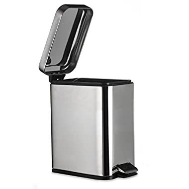 AMG and Enchante Accessories Rectangular Waste Bin, 5L Garbage Trash Can with Step Foot Pedal, WB01 CHR, Polished Chrome