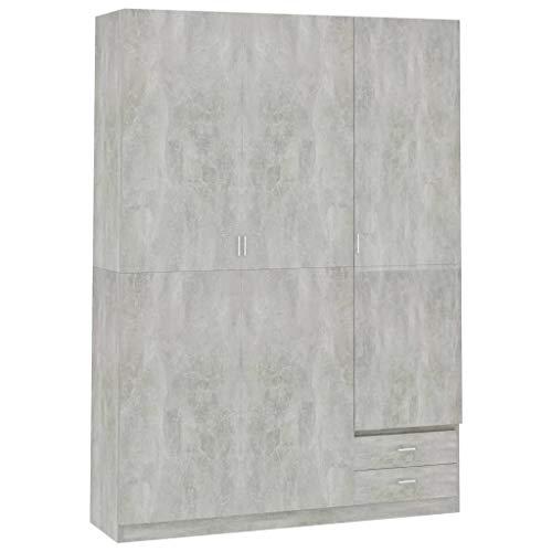 vidaXL - Armadio a 3 ante, 4 ripiani, 2 cassetti, ante girevole, per camera da letto, armadio guardaroba, armadio in cemento grigio 120 x 50 x 180 cm