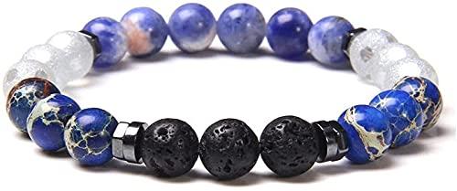 KEEBON Pulsera con Cuentas Fashion Piedra Natural Beads Pulsera Vintage Lava Volcánica Hematita Hemática Pulsera Pulsera para Mujeres Hombres Joyería