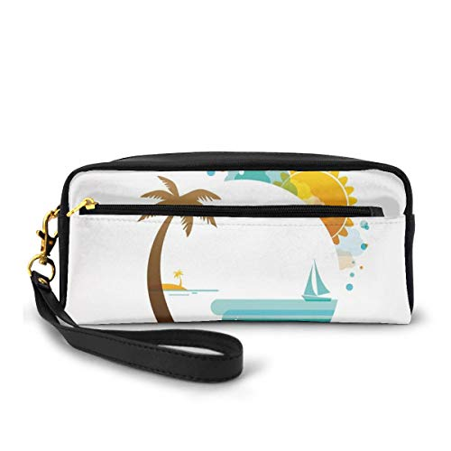 Pencil Case Pen Bag Pouch Stationary,Tropical Paradise Summer Season Palm Tree Silhouette with Fish and Sun,Small Makeup Bag Coin Purse
