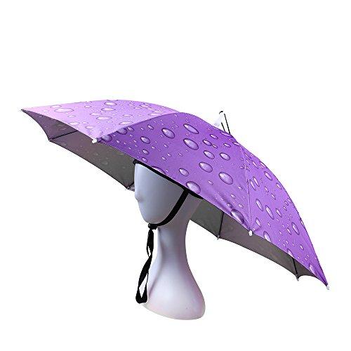 JANGANNSA Fishing Umbrella Hat Folding Sun Rain Cap Adjustable Multifunction Outdoor Headwear (Purple)