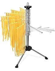 Navaris Secador de pasta con recetario - Soporte de acero inoxidable para pasta fresca - Tendedero para secar tallarines máx. 2 KG - Transparente