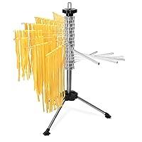 Navaris Stendi-pasta pieghevole per pasta fresca - Stendino per 2 kg pasta lunga - Essiccatore asciuga-pasta acciaio e ABS 16 assi altezza 44cm