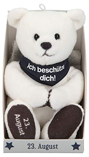 Depesche 8139.236 - Schutzengel Bär aus Plüsch, ca. 9 cm, mit Datum 23. August, Geschenk für Geburtstag, Jahrestag oder Hochzeitstag